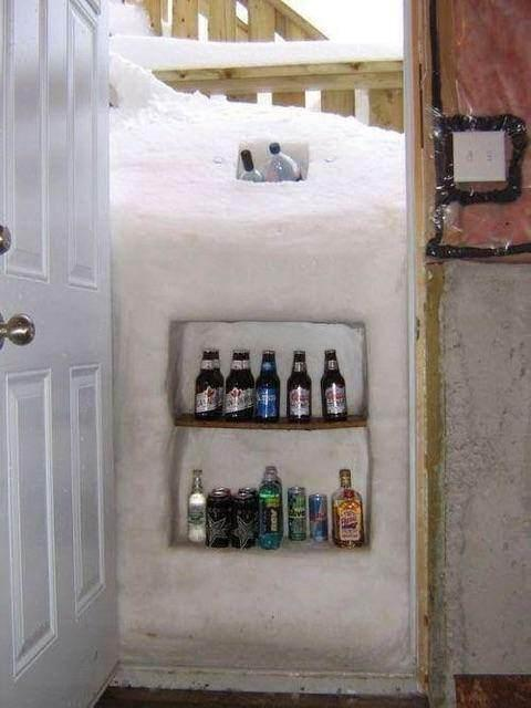 Snow Drift Beer Cooler in Doorway